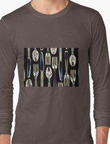 Plastic Knives, Forks and Spoons Arranged In A Pattern Long Sleeve T-Shirt