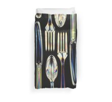 Plastic Knives, Forks and Spoons Arranged In A Pattern Duvet Cover
