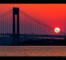 Sunset over Verrazzano Bridge by odessit40