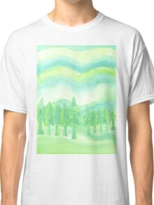 Watercolor Hand Painted Green Trees Abstract Background Classic T-Shirt