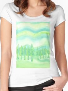 Watercolor Hand Painted Green Trees Abstract Background Women's Fitted Scoop T-Shirt