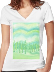 Watercolor Hand Painted Green Trees Abstract Background Women's Fitted V-Neck T-Shirt