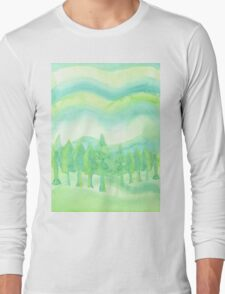 Watercolor Hand Painted Green Trees Abstract Background Long Sleeve T-Shirt