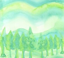 Watercolor Hand Painted Green Trees Abstract Background by Beverly Claire Kaiya