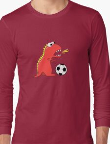 Blue Funny Cartoon Dinosaur Soccer Long Sleeve T-Shirt