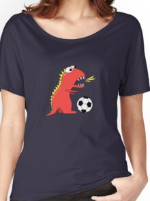 Blue Funny Cartoon Dinosaur Soccer Women's Relaxed Fit T-Shirt