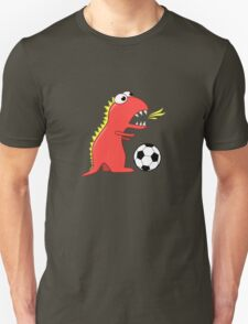 Blue Funny Cartoon Dinosaur Soccer Unisex T-Shirt