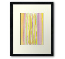 Watercolor Handpainted Purple Yellow Green Stripes Framed Print