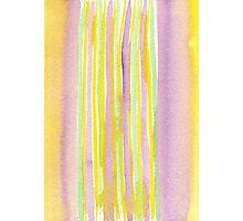 Watercolor Handpainted Purple Yellow Green Stripes Photographic Print