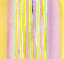 Watercolor Handpainted Purple Yellow Green Stripes by Beverly Claire Kaiya