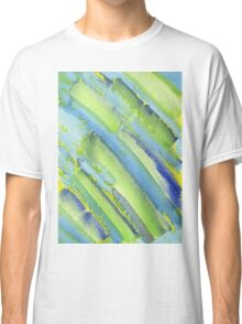 Watercolor Hand Painted Abstract Green Bamboo Texture Classic T-Shirt