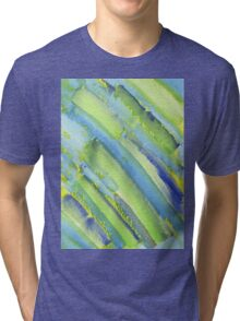 Watercolor Hand Painted Abstract Green Bamboo Texture Tri-blend T-Shirt