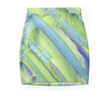 Watercolor Hand Painted Abstract Green Bamboo Texture Mini Skirt