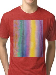 Watercolor Hand Painted Multicolor Stripes Background Tri-blend T-Shirt