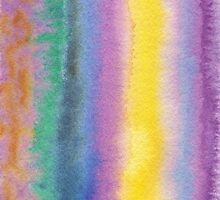 Watercolor Hand Painted Multicolor Stripes Background by Beverly Claire Kaiya