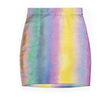 Watercolor Hand Painted Multicolor Stripes Background Mini Skirt