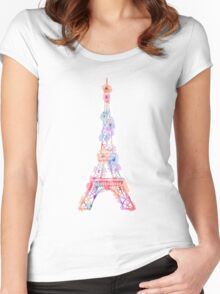 Flower Eiffel Tower Paris Women's Fitted Scoop T-Shirt