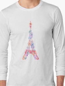 Flower Eiffel Tower Paris Long Sleeve T-Shirt