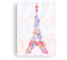 Flower Eiffel Tower Paris Canvas Print