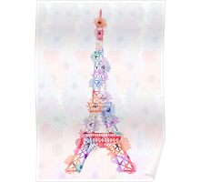 Flower Eiffel Tower Paris Poster