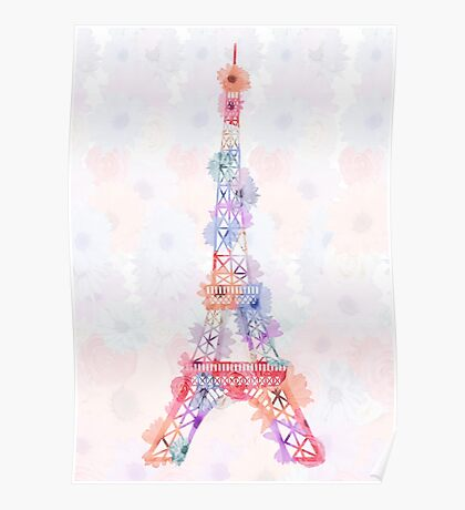 Flower Eiffel Tower Paris Poster