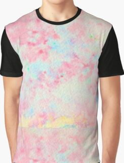 Watercolor Hand Painted Speckled Pink Blue Abstract Texture Graphic T-Shirt
