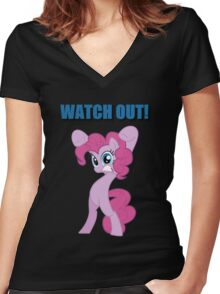 Pinkie Pie - WATCH OUT! Women's Fitted V-Neck T-Shirt