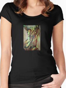 Contemporary Nude Abstract In Brown Women's Fitted Scoop T-Shirt