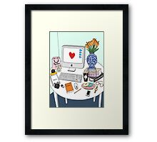 New Yorker's Desk Framed Print