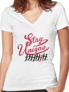 Stay Unique Women's Fitted V-Neck T-Shirt