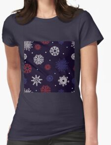Beautiful snowflakes seamless ornament Womens Fitted T-Shirt