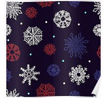 Beautiful snowflakes seamless ornament Poster