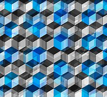 Cubes of Gray And Blue by perkinsdesigns