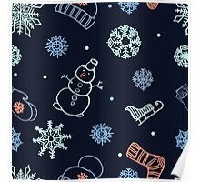 Beautiful winter seamless ornament  Poster