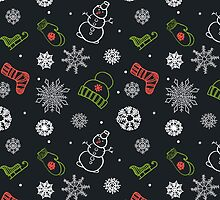 Beautiful winter seamless ornament for christmas winter design by OlgaBerlet