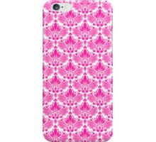 Pink & White Vintage Floral Damasks Pattern iPhone Case/Skin