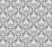 Gray & White Retro Floral Damasks Pattern by artonwear