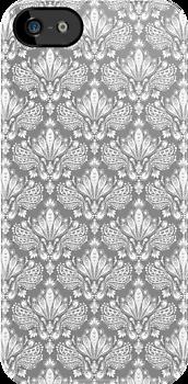 Gray & White Retro Floral Damasks Pattern by artonwear