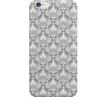 Gray & White Retro Floral Damasks Pattern iPhone Case/Skin