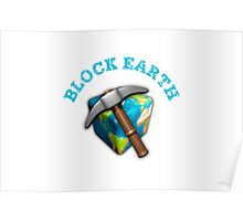 Block Earth - white background Poster