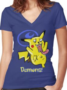 It Came From Hell: Pikachu Horror Design Women's Fitted V-Neck T-Shirt