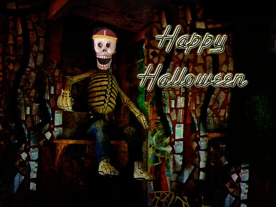 Happy Halloween Skeleton Greeting Card by MotherNature