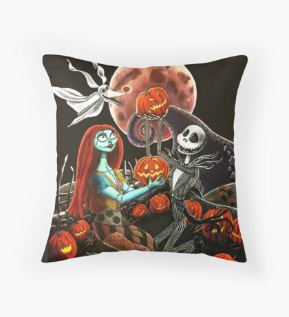 Jack and Sally Pumpkin Patch  Throw Pillow