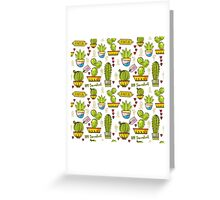 Seamless pattern of cacti and succulents in pots. In the hand drawn style. Greeting Card