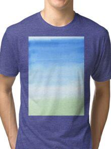 Watercolor Hand Painted Blue Sky Green Grass Texture Tri-blend T-Shirt