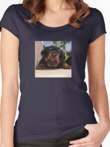 Rottweiler Puppy Giving Eye Contact Women's Fitted Scoop T-Shirt