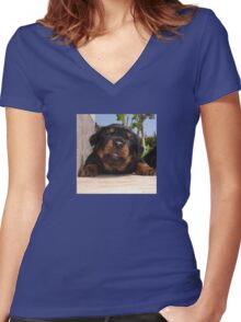 Rottweiler Puppy Giving Eye Contact Women's Fitted V-Neck T-Shirt