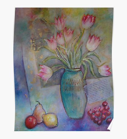 Floppy Pink Tulips Poster