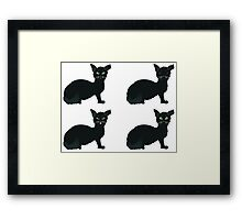 Black Cat with Green Eyes Framed Print