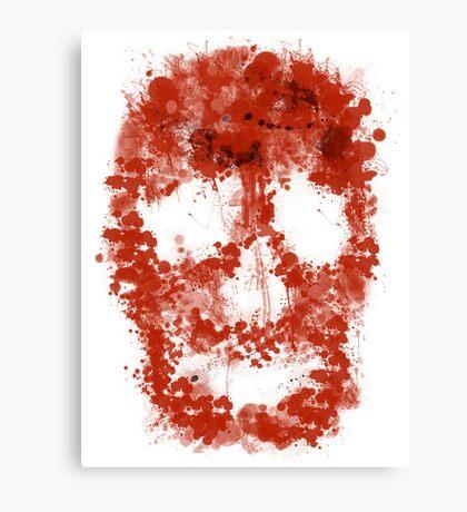 Splatter Skull (red blood of white) Canvas Print